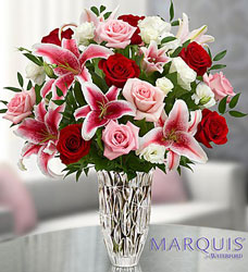 Marquis by Waterford <BR> Red Rose and Lily Bouquet Davis Floral Clayton Indiana from Davis Floral