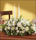 All-White Centerpiece with Candles Davis Floral Clayton Indiana from Davis Floral