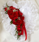 Red and White Satin <br>Heart Casket Pillow Davis Floral Clayton Indiana from Davis Floral