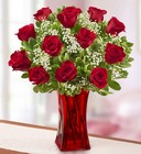 Blooming Love <br>Premium Red Roses<br> in Red Vase Davis Floral Clayton Indiana from Davis Floral