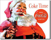 Coca-Cola Santa <br> Coke Time Tin Sign  Davis Floral Clayton Indiana from Davis Floral